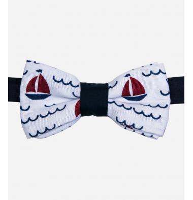 White Bow Tie with Boat