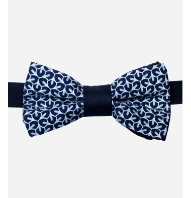 Papillon Blu con Fantasia Geometrica