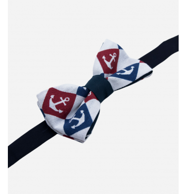 White Bow Tie with Anchors