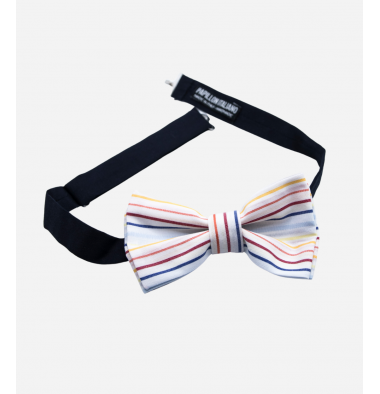 White Bow Tie with Rainbow Pattern